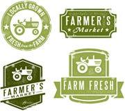 Sellos del mercado de los granjeros del estilo de la vendimia stock de ilustración