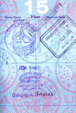 Sellos del pasaporte de las Islas Gal3apagos fotografía de archivo