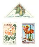 Sellos del poste de Gabón con las plantas Foto de archivo libre de regalías