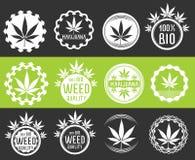 Sellos del símbolo del producto del cáñamo y de la marijuana  ilustración del vector