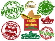 Sellos del Tacos y de los burritos Imagen de archivo libre de regalías