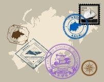 Sellos del tema Asia Imagen de archivo libre de regalías