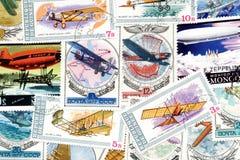 Sellos del tema de la aviación Imagenes de archivo