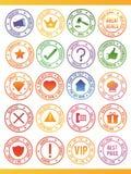 20 sellos del vector stock de ilustración