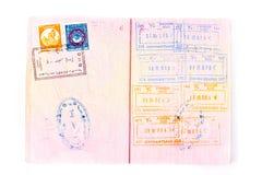 Sellos en pasaporte internacional Foto de archivo libre de regalías