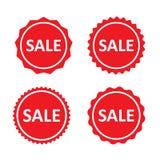 Sellos, etiqueta, insignias o etiquetas engomadas rojas de la venta Sistema de etiquetas del márketing Sistema del vector libre illustration