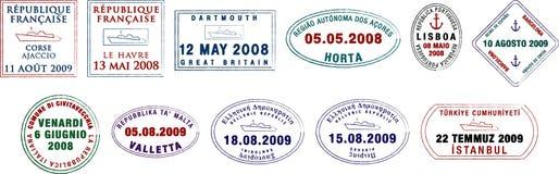 Sellos europeos del pasaporte Fotografía de archivo libre de regalías