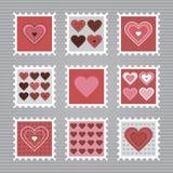 Sellos felices del día de tarjeta del día de San Valentín Imagenes de archivo