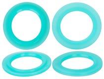 Sellos hidráulicos y neumáticos verdes del anillo o aislados en el fondo blanco Anillos de goma fotografía de archivo libre de regalías