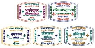 Sellos indios del aeropuerto Imágenes de archivo libres de regalías