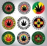 Sellos jamaicanos del símbolo de la hoja de la marijuana del cáñamo Imágenes de archivo libres de regalías