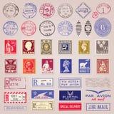 Sellos, marcas y etiquetas engomadas del vintage Foto de archivo libre de regalías