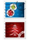 Sellos postales de la Navidad stock de ilustración