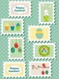 Sellos postales de Pascua fijados libre illustration