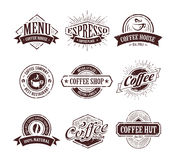 Sellos retros del café Foto de archivo