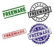 Sellos texturizados rasguñados del sello del FREEWARE ilustración del vector