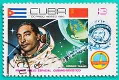 Sellos usados con impreso en los temas del espacio de Cuba Imágenes de archivo libres de regalías