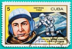 Sellos usados con impreso en los temas del espacio de Cuba Fotografía de archivo libre de regalías