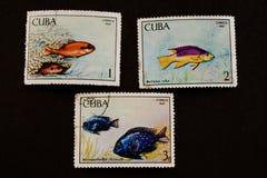 Sellos usados de Cuba Fotografía de archivo