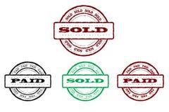 Sellos vendidos y pagados Fotografía de archivo libre de regalías
