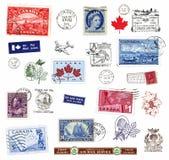 Sellos y escrituras de la etiqueta de Canadá Foto de archivo