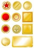Sellos y escrituras de la etiqueta rojos de oro Fotografía de archivo