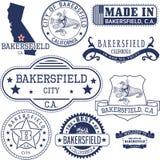 Sellos y muestras genéricos de la ciudad de Bakersfield, CA Imagen de archivo libre de regalías