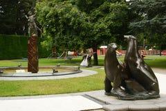 Sellos y Peter Pan Fountain gigantes Fotografía de archivo libre de regalías
