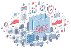 Sellout concept, Retail, Big Sale, Shopping Bag with cash money stock image