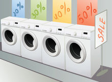 Sellout of washing machine in shop Stock Photography