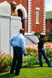 Selma Alabama History Lesson. An African American family visits the Brown AME Church in Selma Alabama, where Martin Luther King began his famed march to Stock Photography