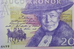 Selma Lagerlof swedish writer banknote. Portrait of Swedish author Selma Lagerlöf on the bill 20 crowns royalty free stock images
