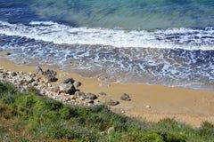 Selmun Bay (Imġiebaħ Bay). Calm Mediterranean Sea on Selmun Bay - Malta, nice clear day Stock Photos