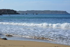 Selmun Bay (Imġiebaħ Bay). Calm Mediterranean Sea on Selmun Bay - Malta, nice clear day Stock Photo