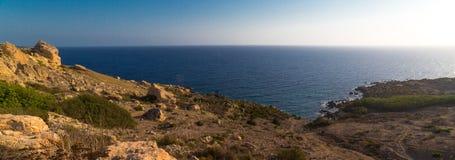 Selmun Bay. A panoramic shot of Selmun Bay in Malta stock photo