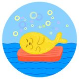 Selo amarelo que encontra-se no colchão vermelho no mar Ilustração dos desenhos animados da cor do vetor ilustração do vetor