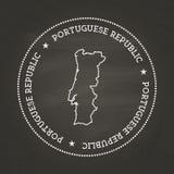 Selo branco do vintage da textura do giz com português Foto de Stock