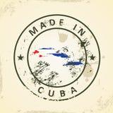 Selo com a bandeira do mapa de Cuba ilustração do vetor