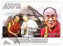 Selo com Dalai Lama e papá Paul II Fotos de Stock Royalty Free