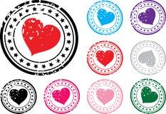 Selo com a imagem do coração. Imagens de Stock