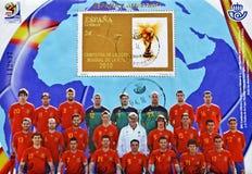 Selo com o campeão espanhol do copo de mundo do futebol Fotografia de Stock