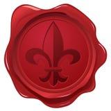 Selo da cera com selo da flor de lis Fotos de Stock Royalty Free