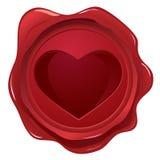Selo da cera com selo do coração Imagens de Stock Royalty Free