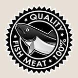 Selo da qualidade 100% da carne de peixes Foto de Stock
