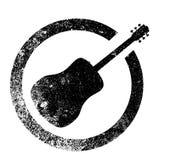 Selo da tinta da guitarra acústica ilustração royalty free