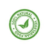 selo de borracha do grunge do alimento natural de 100% Ícone do alimento do vegetariano Vetor ilustração do vetor