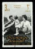 Selo de John F Kennedy Postage do vintage de Fujeira fotografia de stock
