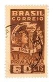 Selo de porte postal de Brasil do vintage Imagens de Stock
