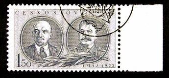 Selo de porte postal de Checoslováquia fotografia de stock royalty free