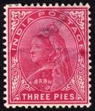 Selo de porte postal do Victorian de India fotografia de stock